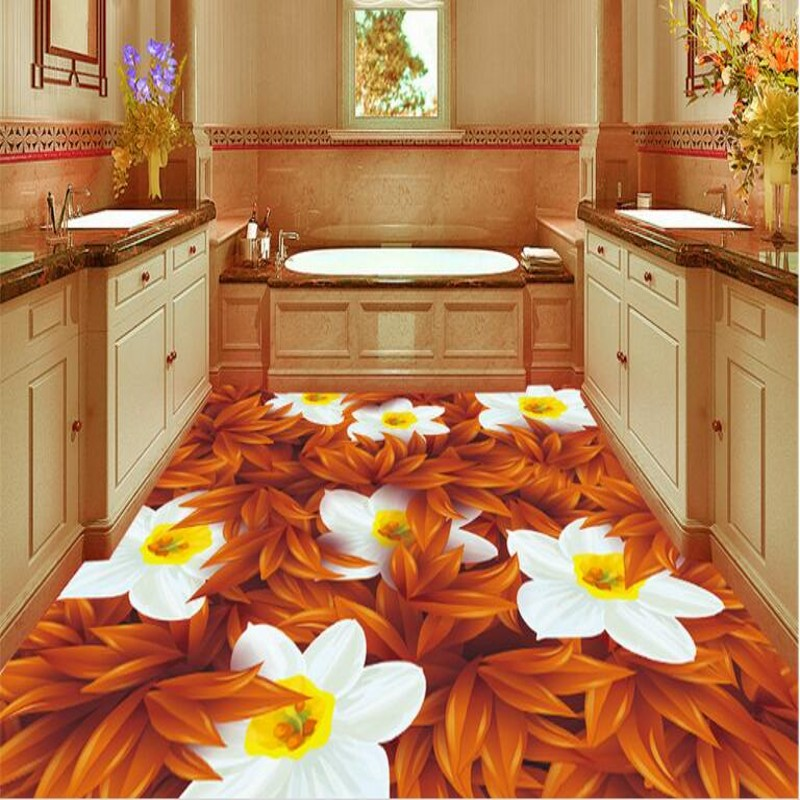 beibehang Large custom flooring stickers vector three-dimensional daffodils painted bathroom floor bathroom floor decorationbeibehang Large custom flooring stickers vector three-dimensional daffodils painted bathroom floor bathroom floor decoration