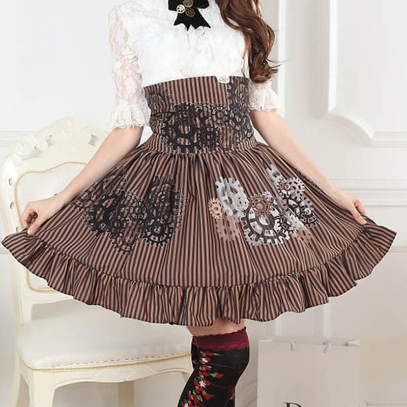 Noir et blanc Gear Steampunk SK Lolita jupe douce taille haute robe victorienne Kawaii Vestidos à volants Bloomers Lolita jupes