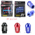 D1 Car M12X1.25 Wheel Nuts Chrome Racing Lug Nuts 20pcs lock racing lug nuts with key M12X1.25 Black Red Blue