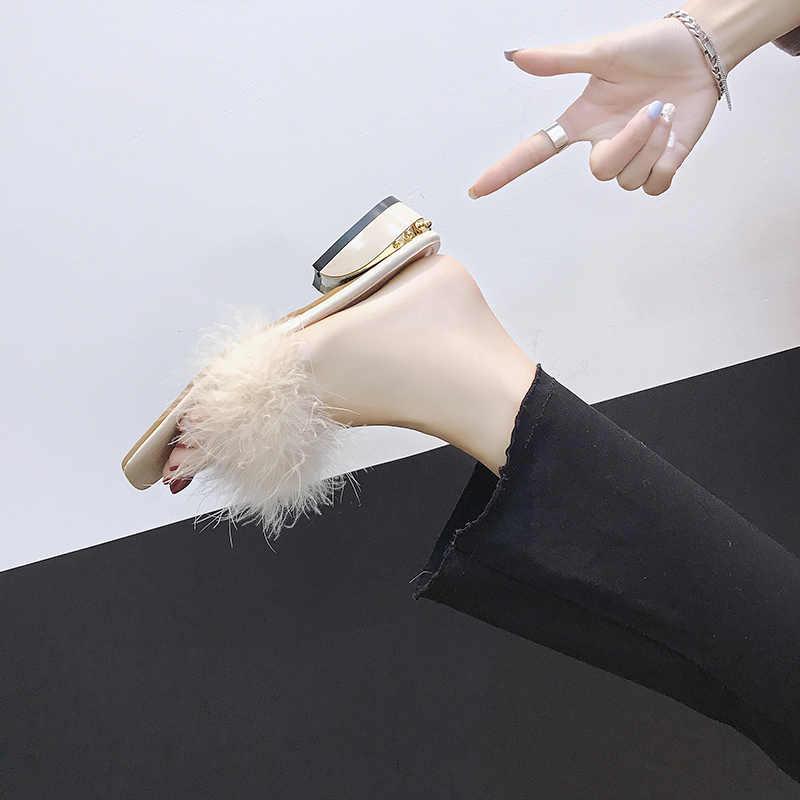 Aphixta/100%; тапочки с перьями страуса; женская обувь; меховые женские вьетнамки на квадратном каблуке; Mujer; домашние тапочки на танкетке; большие размеры 34-44