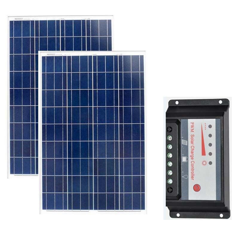 2 Pcs Solar Panels 18v 100W Battery Charger 12v Energy Board 200W Charge Controller 12v/24v 20a Camp Caravan