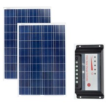 2 Pcs Solar Panels 18v 100W Battery Charger 12v Energy Board 200W Charge Controller 12v/24v 20a Camp Caravan