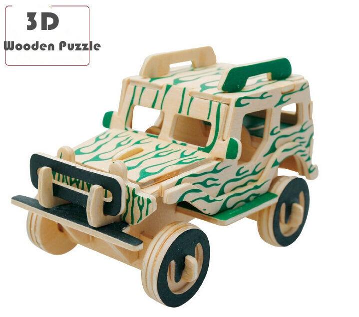 wholesale 3d wooden puzzle car series model building kits educational toys diy building toys for children