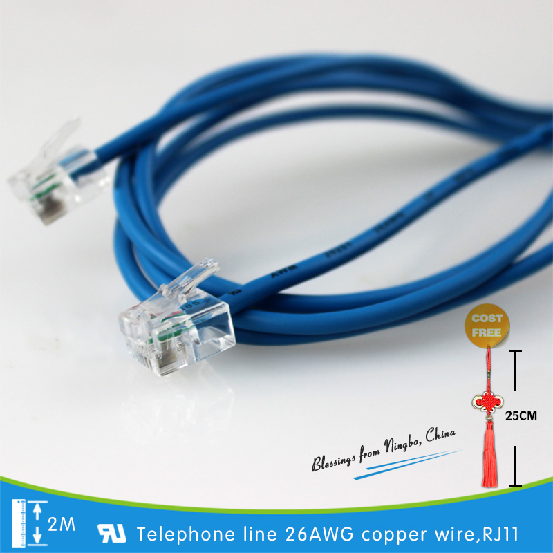 Cable Telephone-Line Conformance RJ11 With Eu-Standards Reach/rohs 26AWG Roughened Copper-Wire
