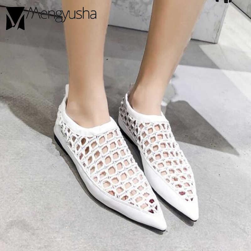 Cut-out zachte leer spitse sandalen vrouwen merk ontwerp ademend air mesh gladiator sandalen vrouwen gesloten teen sandalen mujer