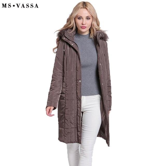 MS VASSA женские парки зима 2018 Новые Длинные куртки женские осенние классические пальто съемный капюшон с поддельные Большие размеры 6XL