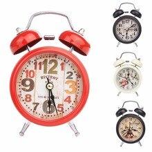 4b88d84f341 GOHAND Antigo LED Liga de Metal Gêmeo de Bell Relógio Despertador  Silencioso Alarme de Cabeceira Relógio de Mesa Decoração