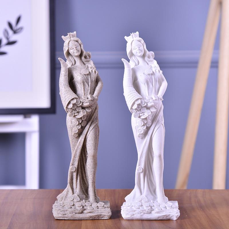 Abstract Fortune Goddess Statues Sculpture Ornament Handmade Sandstone Wedding Decor Gift Craft Sculpture Living Room Decoration