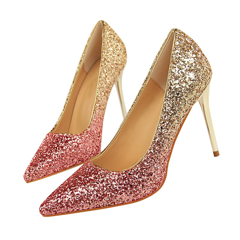 2018 Women 9cm Thin High Heels Sexy Glitter Bright Scarpins Pumps Female Stiletto Wedding Bridal Gold Silver Red Valentine Shoes 2016 valentine sexy gold silver women pumps red bottom high heels chaussure femme semelle rouge wedge cheap red sole shoes