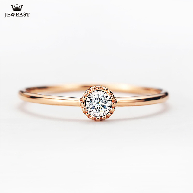 18K Gold Pure Gold Ring Real 18K Gold Solid Gold Rings  Beautiful Upscale Trendy Classic Party Fine Jewelry Hot Sell New 2020 1