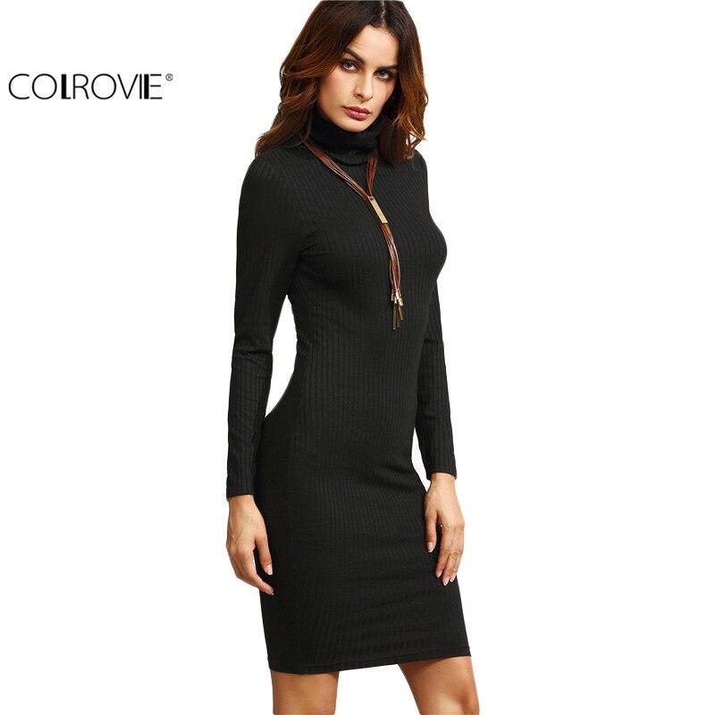 COLROVIE Negro Bodycon Vestidos de Manga Larga de Cuello Alto Acanalado Vestido