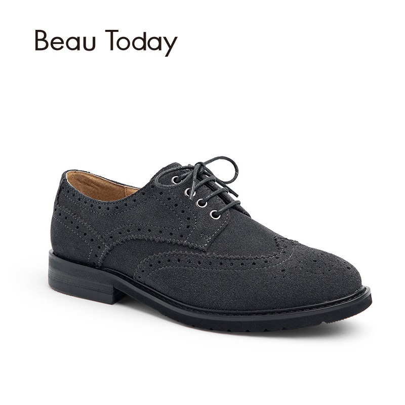 BeauToday Genuine Cow Suede Leather Brogue Shoes Fashion Lace-Up Wingtip Round Toe Oxfords Casual Ladies Shoes 21077 цены онлайн