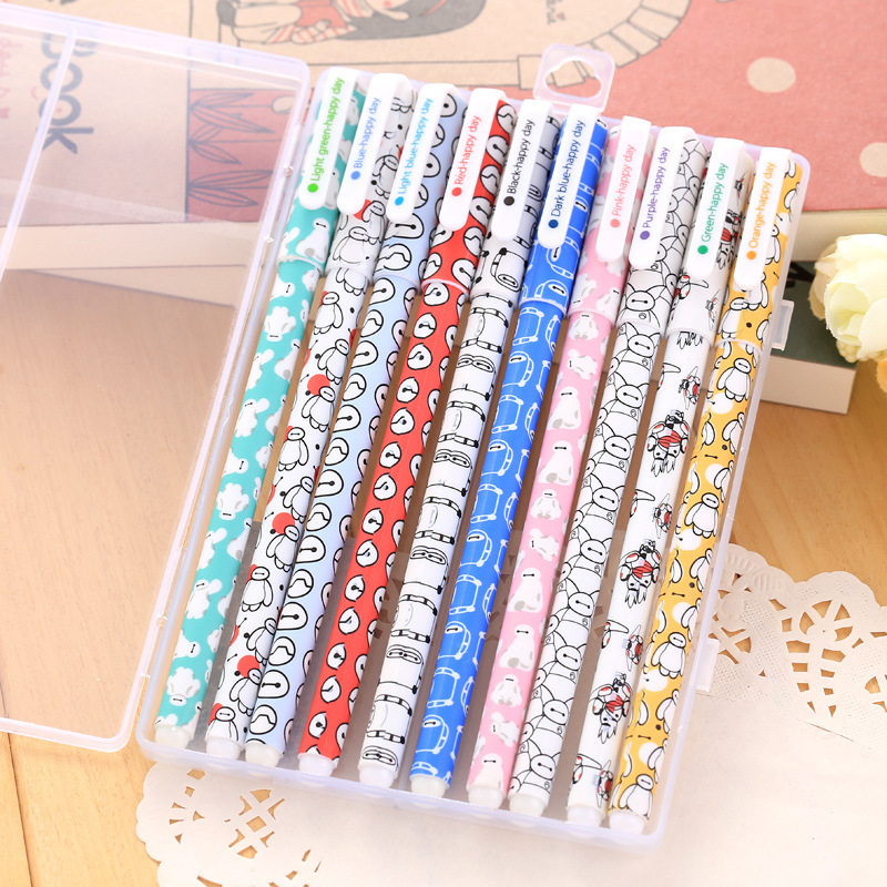 10 color/pack Baymax Gel Pens for Writting Kawaii Cute Pen Gift Canetas Material Escolar Kawaii Stationery School Supplies lapices erasable pen kawaii stationary material escolar boligrafo gel penne cute canetas floral caneta stylo borrable cancellabi
