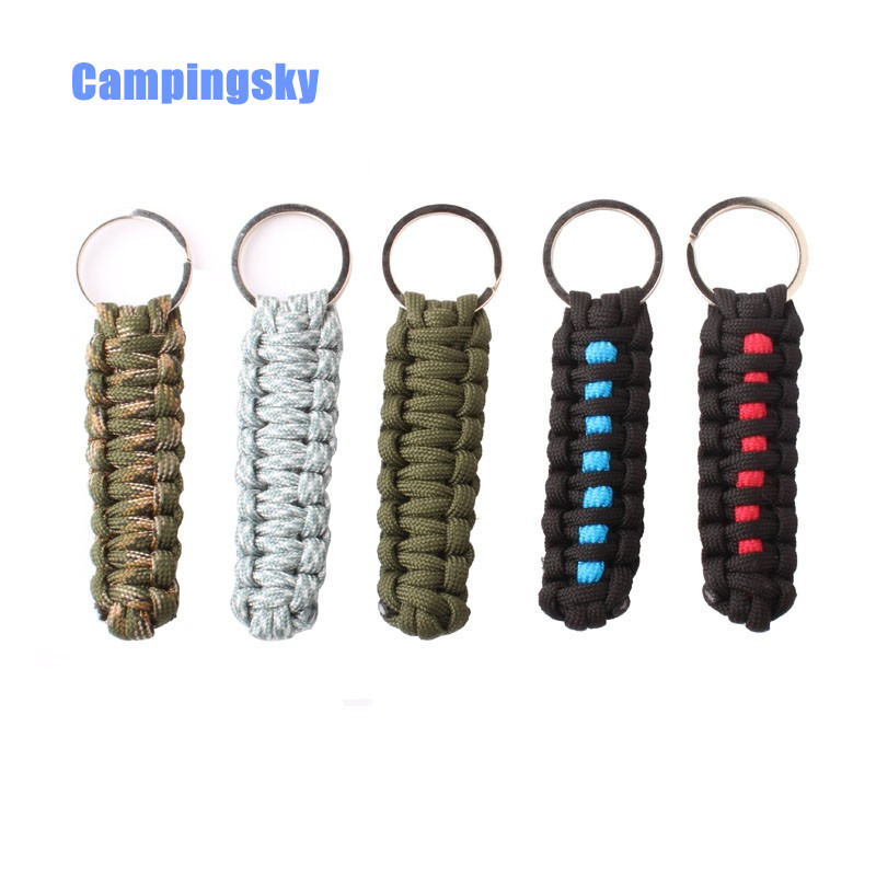 CAMPINGSKY 550 ParaCord Lanyard Chain Keyring Handmade For Key Flashlight Black,Climbing Camping Survival Equipment,paracord 550