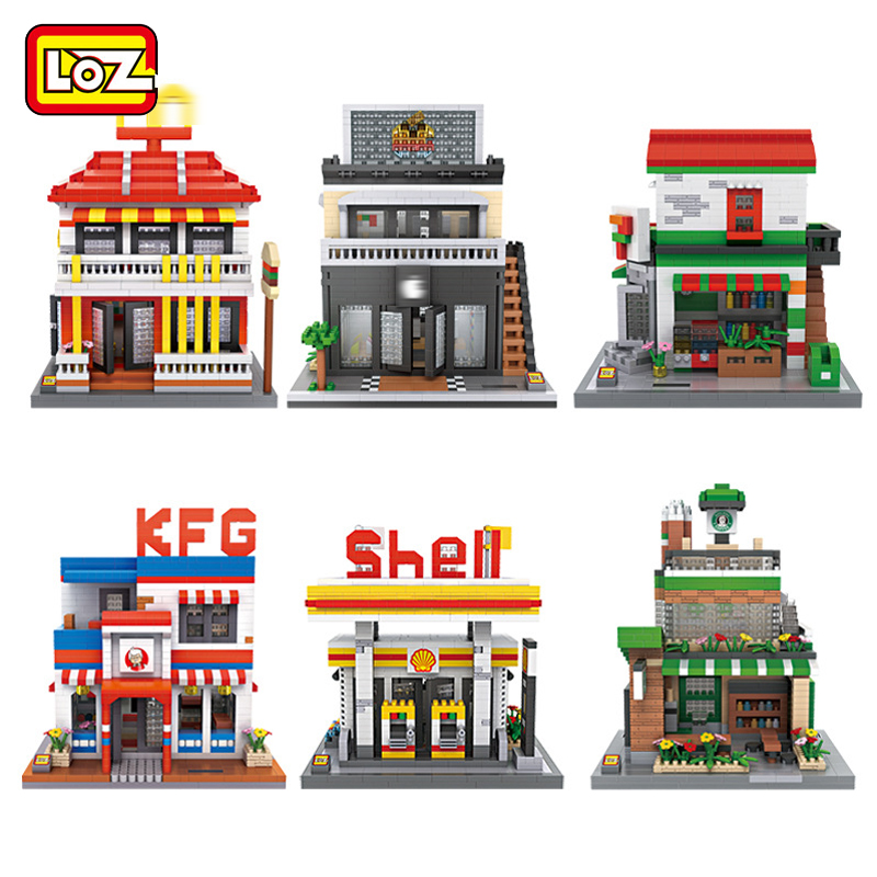 Mini Qute LOZ Shell gas Station coffee phone restaurant sweet shop diamond plastic building block scale model educational toy ...