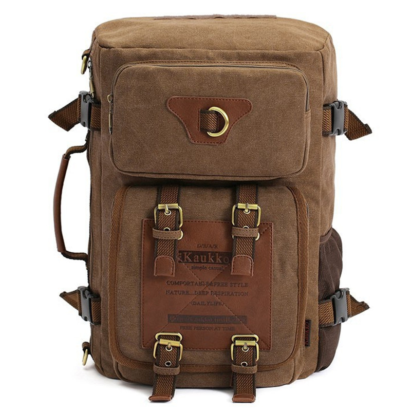 Kaukko Vintage Canvas Backpack Bag and Daypack Men's Backpacks Travel Men's Travel Bags Khaki Laptop Backpacks Men Backpack Male reloj hombre jaragar fashion watch mens moonphase flywheel auto mechanical stell wristwatch gift box free ship