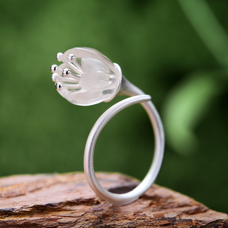 f1316d0ab1555 Lotus Fun Real 925 Sterling Silver Natural Crystal Handmade Designer Fine  Jewelry Delicate Fresh Flower Rings for Women Bijoux-in Rings from Jewelry  & ...