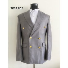 RealPhoto Gray Terno Cheap Tuxedo Prom Mens Suits Double Breasted Wedding Suit Slim Fit 2017 Blazer three Pieces (Jacket+Pants+Vest)