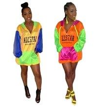 Letter UV-protection Wear Rash Guards  Fluorescence Contrast Color Patchwork Hoodies For Women Streetwear Oversized Sweatshirt недорого