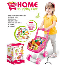 Hot Sale Boys Girls Plastic Pretend Role Play Supermarket Shopping Fun Food Set Kitchen Toy  Shopping Cart Toys For Childrens