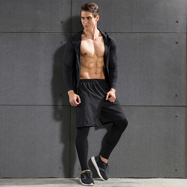 076c21e4842a9 Men's Hooded Jacket Running Suits Jackets Knee-length Shorts and Pants  Three Pieces Set for Basketball Joggers Gym Fitness