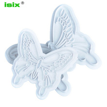 ISIX 2pcs Set Silicone Molds Butterfly Cake Fondant Sugarcraft Cookie Decorating Cutters Flower Mold Fondant Tool