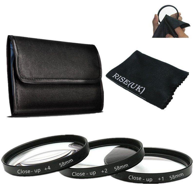 RISE(UK) 58mm Macro Close-Up Filter Set (+1 +2 +4 ) for Nikon Canon cam