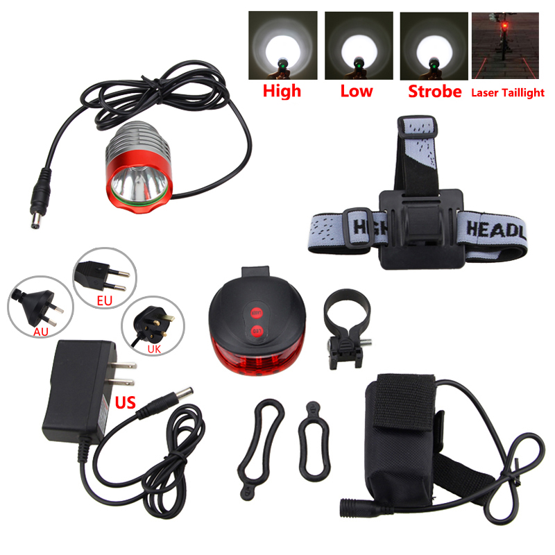 Waterproof Front Bike Headlamp 8000 lumen XM-L T6 LED Bicycle Light Torch Cycling Headlight with Battery Set +Laser Taillight cree xm l t6 bicycle light 6000lumens bike light 7modes torch zoomable led flashlight 18650 battery charger bicycle clip