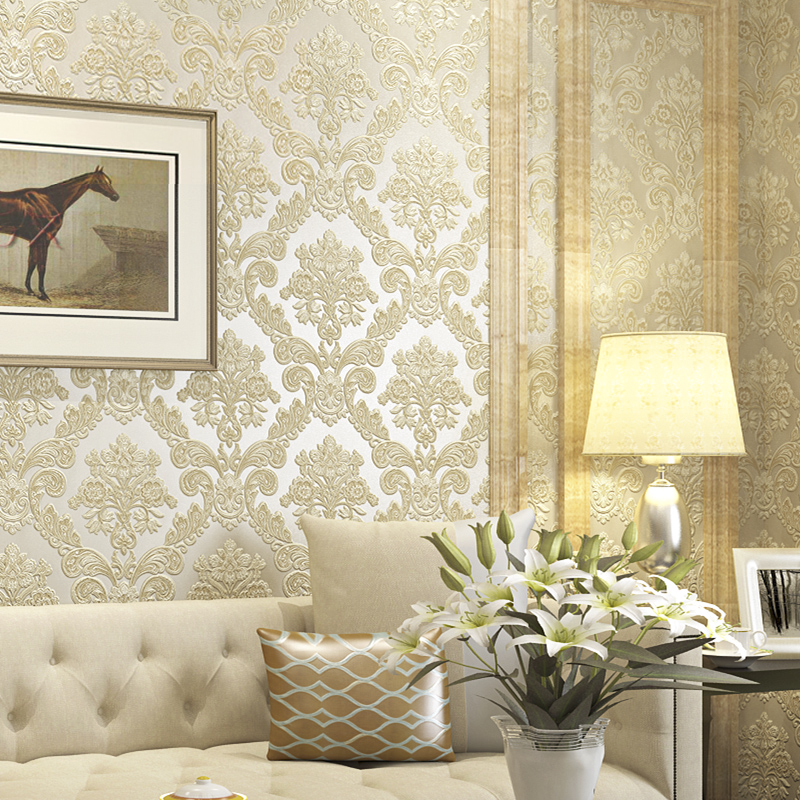 Victorian yellow 3d damask wallpaper for walls vintage for Yellow wallpaper home decor