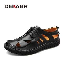 DEKABR Comfortable Men Sandals Summer Casual Shoes New Mens Beach Shoes Breathable Waterproof Footwear Men Lazy Shoes Size 38~44
