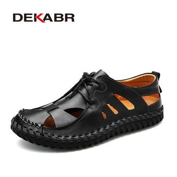 DEKABR wygodne męskie sandały letnie obuwie nowe męskie buty na plażę oddychające wodoodporne obuwie męskie leniwe buty rozmiar 38 ~ 44 tanie i dobre opinie Skóra Split Podstawowe Nowość RUBBER Pasek klamra Mieszkanie (≤1cm) Pasuje prawda na wymiar weź swój normalny rozmiar