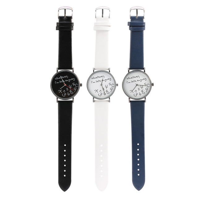 Whatever I am Late Anyway Letter Print Leather Men Women Watches Fresh New Style Woman Wristwatch Lady Quartz Watch Montre Femme