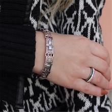 Vintage Rhinestone Bracelet For Women Adjustable Bohemia Armband Ancient Gold Silver Metal Bracelets Bangles Fashion Jewelry