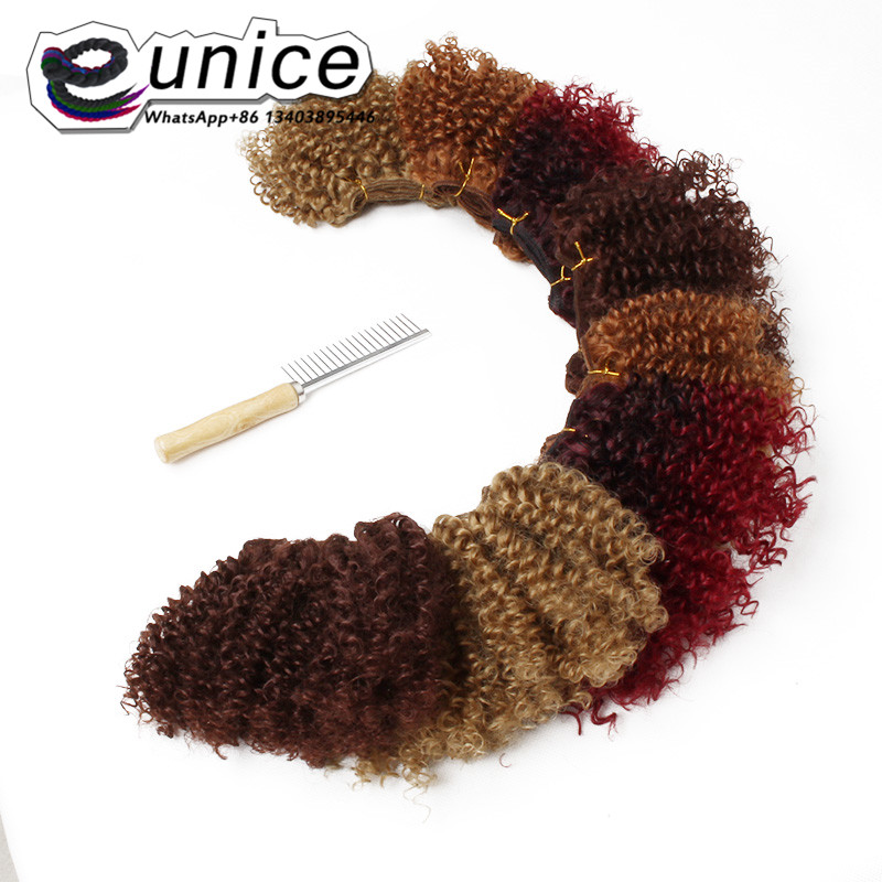 Jerry Short Curl Hair Cabelo freetress Hair Extension 8inch ombre burgundy synthetic curly weave kinky curly hairstyles