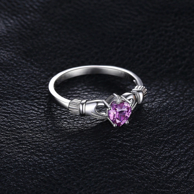 Natural Amethysts Irish Claddagh Ring