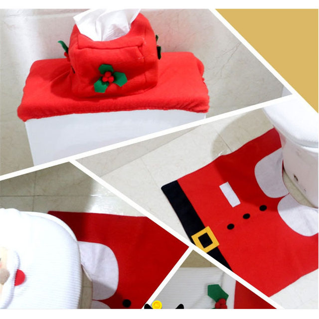 Creative Santa Toilet Seat Cover Sets Clothes Christmas Decorations Bath Mat Holder Closestool Lid 3pcs Set