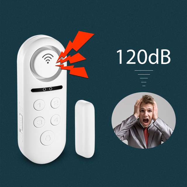 KERUI WIFI เซ็นเซอร์ประตูหน้าต่างคู่แม่เหล็กเครื่องตรวจจับ 120dB 4 รหัสผ่านดิจิตอล Welcome ALARM Home Security