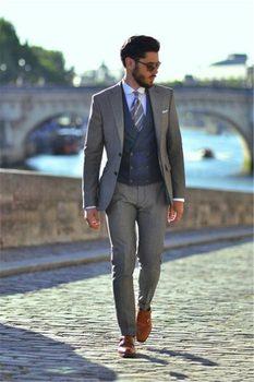 New Arrival Two Buttons Light Grey Groom Tuxedos Groomsmen Notch Lapel Mens Suits Blazers (Jacket+Pants+Vest+Tie) W:1013