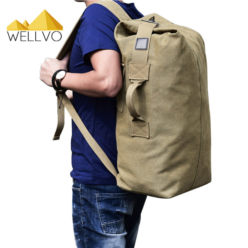 Men Luggage Travel Bag Army Bucket Backpack Multifunctional Military Canvas Backpacks Large Shoulder Bags Casual Back