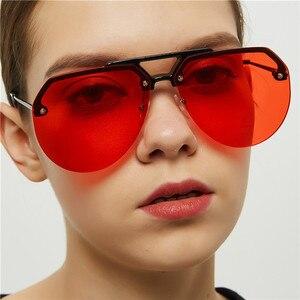Женские винтажные солнцезащитные очки RunBird, большие прозрачные красные очки без оправы, UV400, lunette femme 5390, 2019