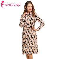 ANGVNS Geometric Print Dress Women 2017 New Spring Autumn Turn Down Collar Knee Length Bow Dress