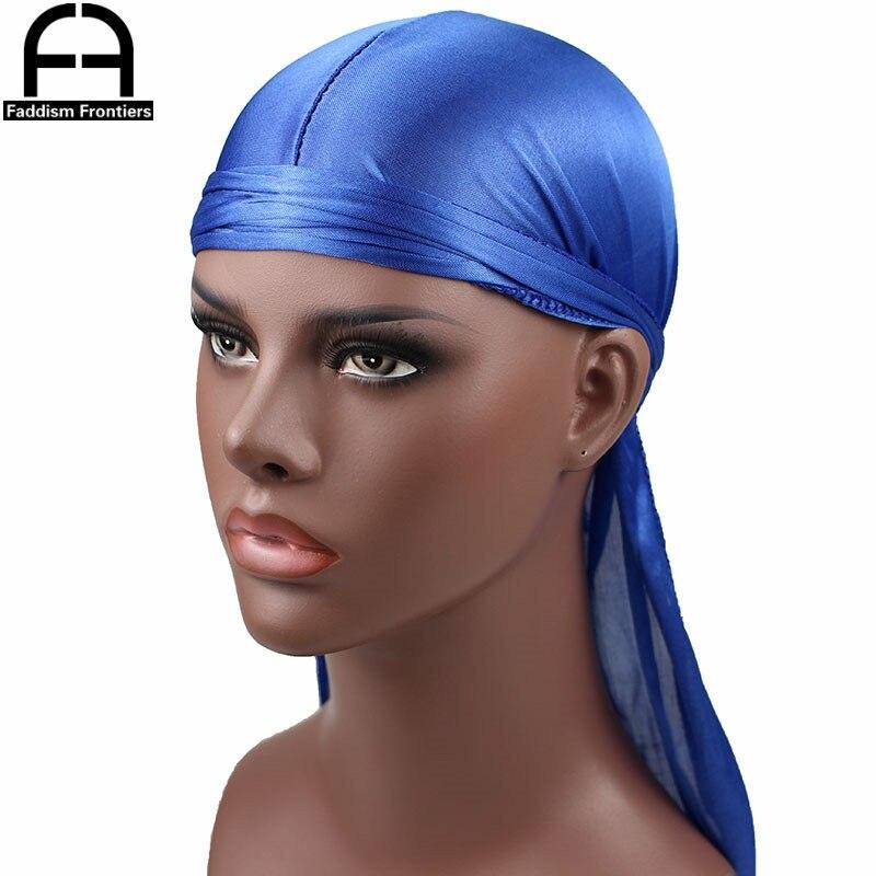 New Luxury Men's Silky Durags Bandana Turban Hat Wigs Doo Men Satin Durag Biker   Headwear   Headband Pirate Hat Hair Accessories