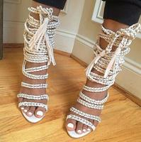 Hot Selling Silver Chains Lace Up Sandals High Heel Suede Fringed Gladiator Sandal Woman Open Toe