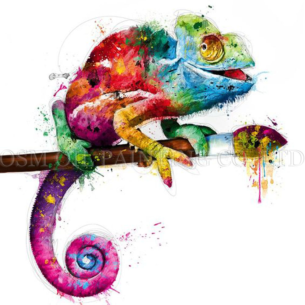 Chameleon Watercolor Tattoo: Skilled Artist Handmade Abstract Colorful Chameleon Oil