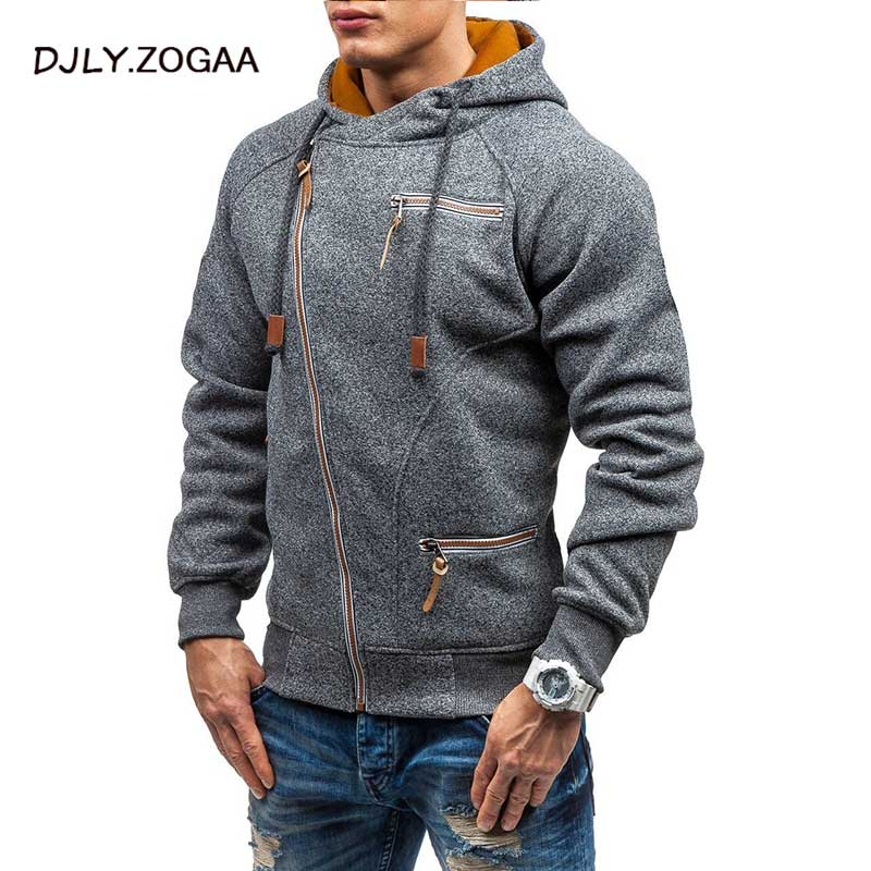 2019 Autumn Winter New Men's Hooded Hoodie Fashion Wild Hoodies Zipper Solid Sweatshirts Coat Large Size M-4XL