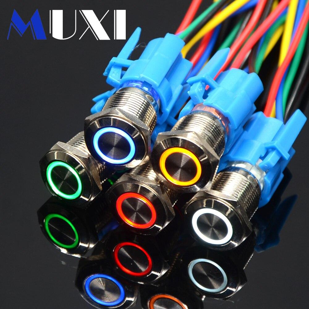 16mm Self-locking Waterproof Metal Push Button Switch With LED Light 3V 5V 6V 12V 24V 36V 48V 110V 220V RED BLUE GREEN ORANGE