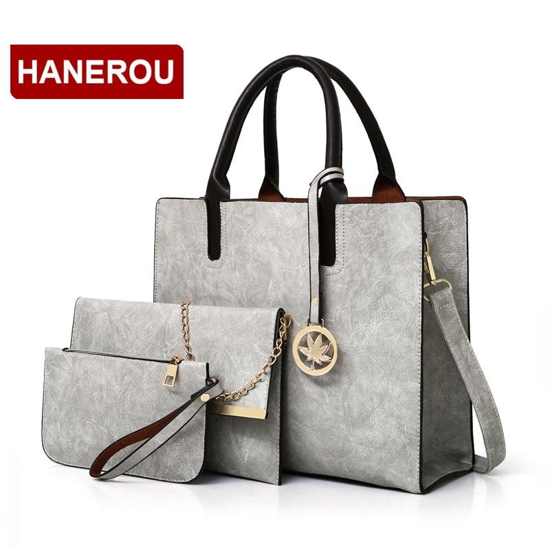 2019 New Women Bags Set 3 Pcs Leather Handbag Women Large Tote Bags Ladies Shoulder Bag Handbag+Messenger Bag+Purse Sac a Main