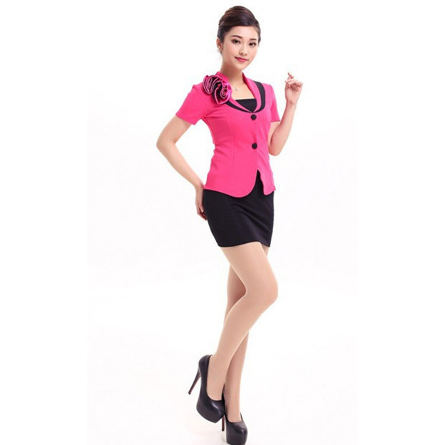 2015 Free Shipping Summer Style Fashion  Sexy  Simple Women Office Skirt Suits Black  Carreer Uniform Excellent Work Wears