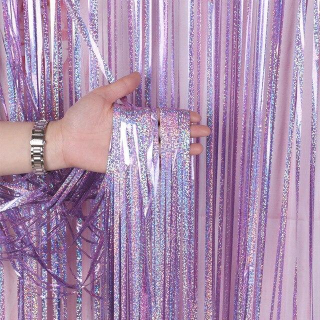 独身パーティーの背景カーテングリッターゴールド見掛け倒しフリンジ箔カーテン誕生日結婚式の装飾大人の記念の装飾