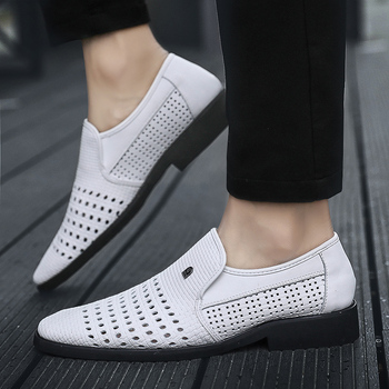 2019 Summer Men's Leather Sandals Genuine Leather Soft Bottom Slip-On Shoes Hole Shoes Middle-Aged Hollow Weave Dad Shoes 47 48 1